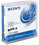 LTO-5 Ultrium Data Cartridge 1.5 TB / 3.0 TB LTO Ultrium-5 Sony Tape Part # LTX1500G